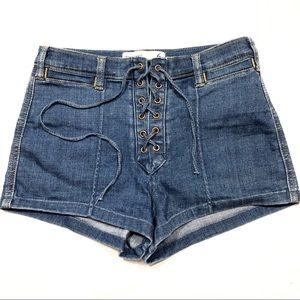 Abercrombie High Rise Lace Up Shorts Size 6